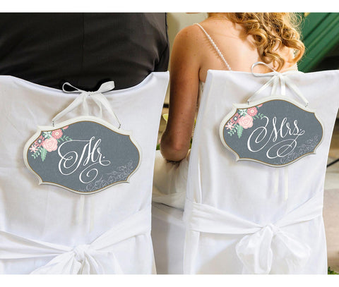 Mr. & Mrs. Vintage Wedding Chair Sign