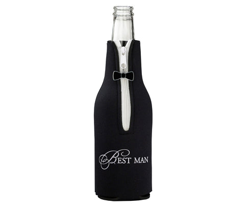 Best Man Bottle Cozy - Black