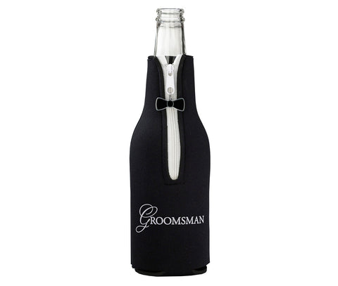 Groomsman Bottle Cozy - Black