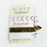 White & Gold Hair Ties - Bridesmaid Proposal - Marry Me Wedding Accessories & Gifts