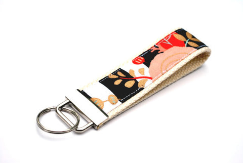 Keychain Wristlet -  Black White Stripe with Coral Mint Gold Flowers - Marry Me Wedding Accessories & Gifts