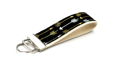 Keychain Wristlet - Black Gold White Arrows - Marry Me Wedding Accessories & Gifts