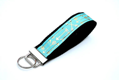 Keychain Wristlet - Mint with Gold Arrows - Marry Me Wedding Accessories & Gifts
