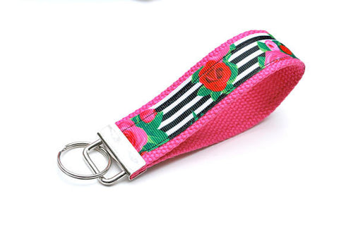 Keychain Wristlet - Stripes & Flowers - Marry Me Wedding Accessories & Gifts