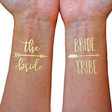 Bachelorette Party Gold Metallic Temporary Tattoos - Marry Me Wedding Accessories & Gifts