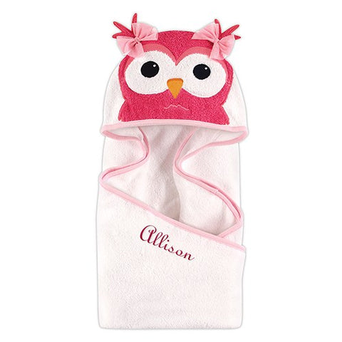 Animal Face Hooded Towel - Owl