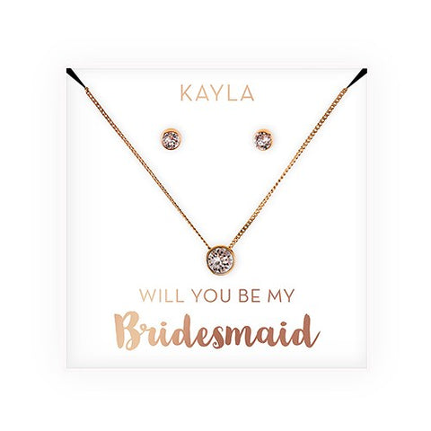 Swarovski Crystal Earring & Solitaire Necklace Set - Will You Be My Bridesmaid?