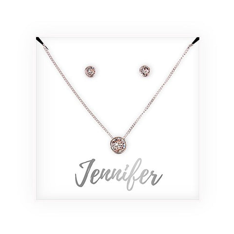 Swarovski Crystal Earring & Solitaire Necklace Set - Cursive