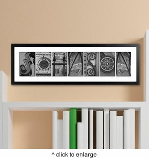 Architectural Elements II Black and White Family Name Prints - Marry Me Wedding Accessories & Gifts