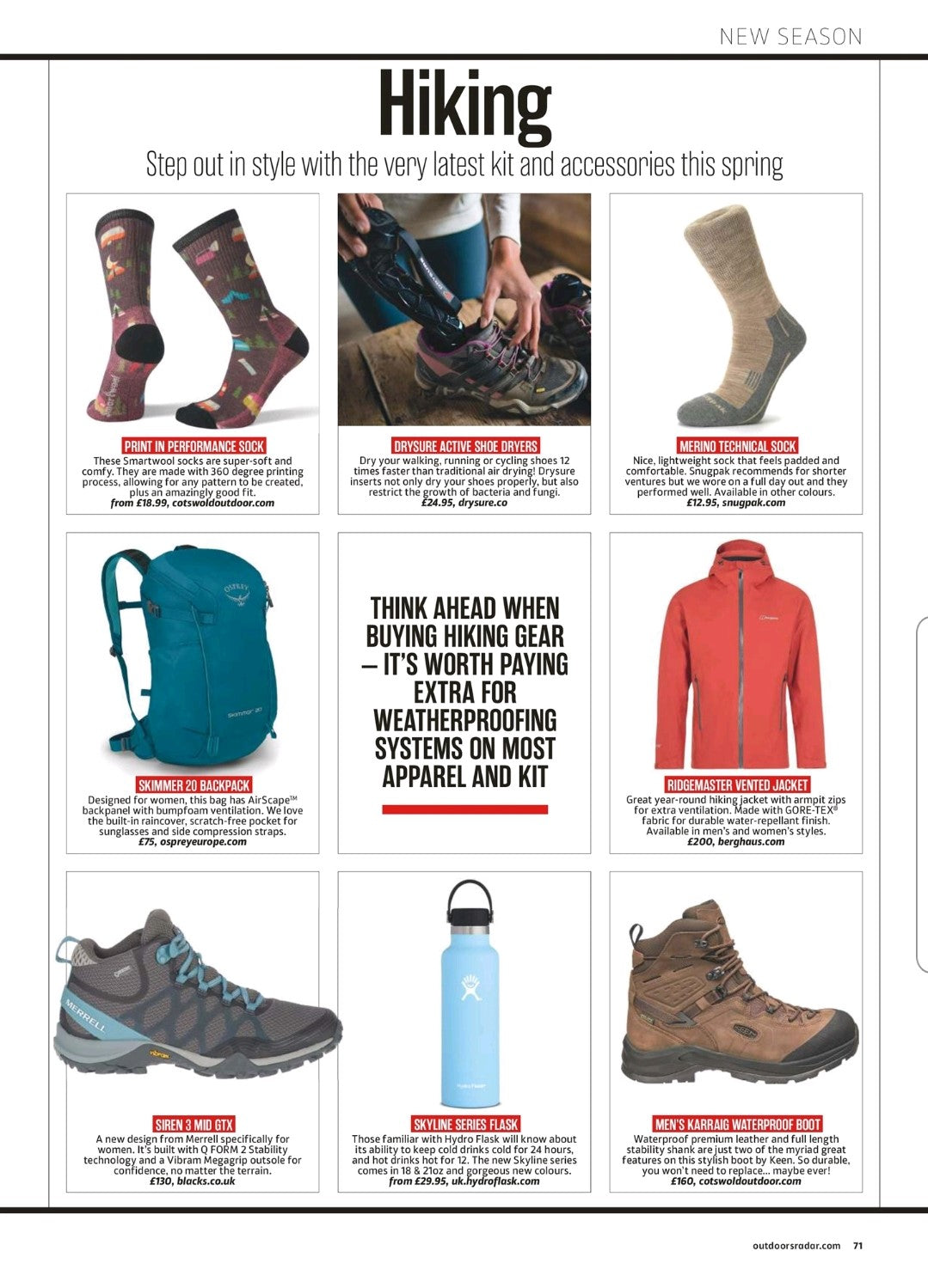 Drysure in outdoor fitness magazine
