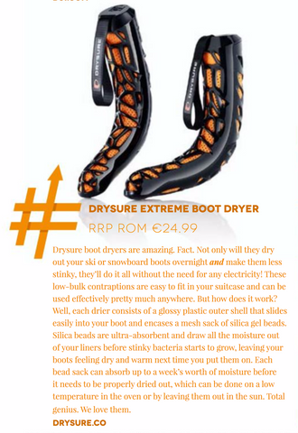 Drysure Extreme Boot Dryer have been featured in Morzine's Source Magazine winter 2017 & 2018
