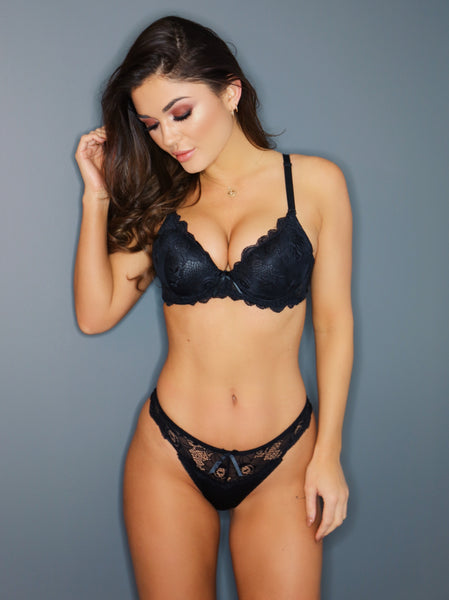 Push Up Plunge Bra Set