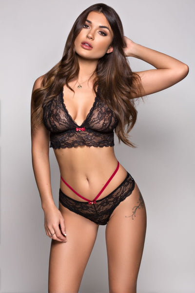 Berry & Black Lace Set