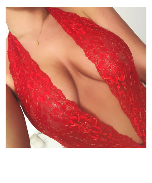 Red and Gold High Waisted Bodysuit