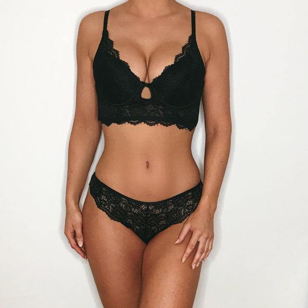 Longline Push Up Plunge Bra Set