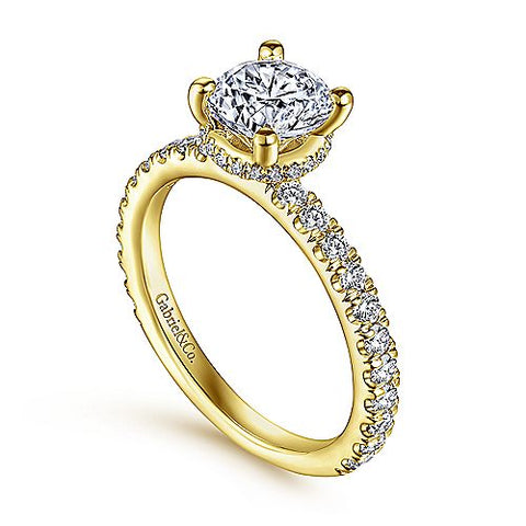 thin band yellow gold engagement ring