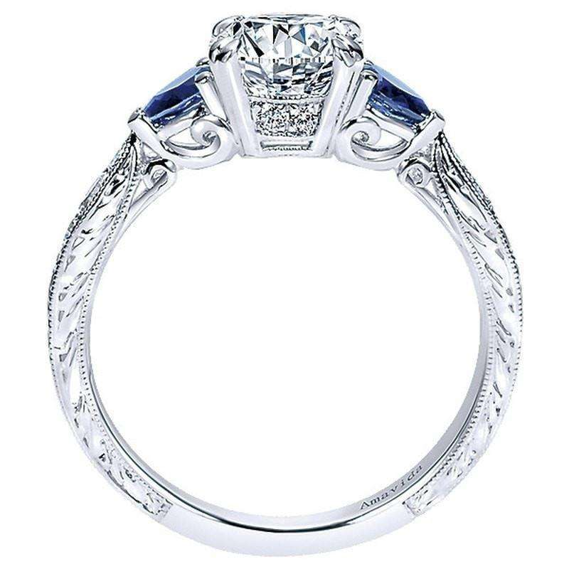 Mounting Only Platinum Victorian Engagement Ring With Sapphire Accent Goldsmith Jewelry Shoppe