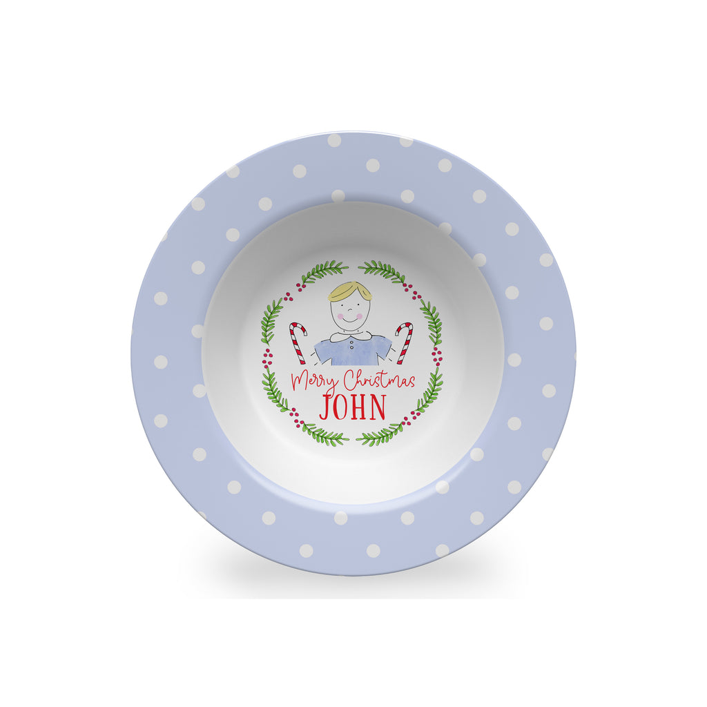 personalized kids christmas bowl melamine custom boy