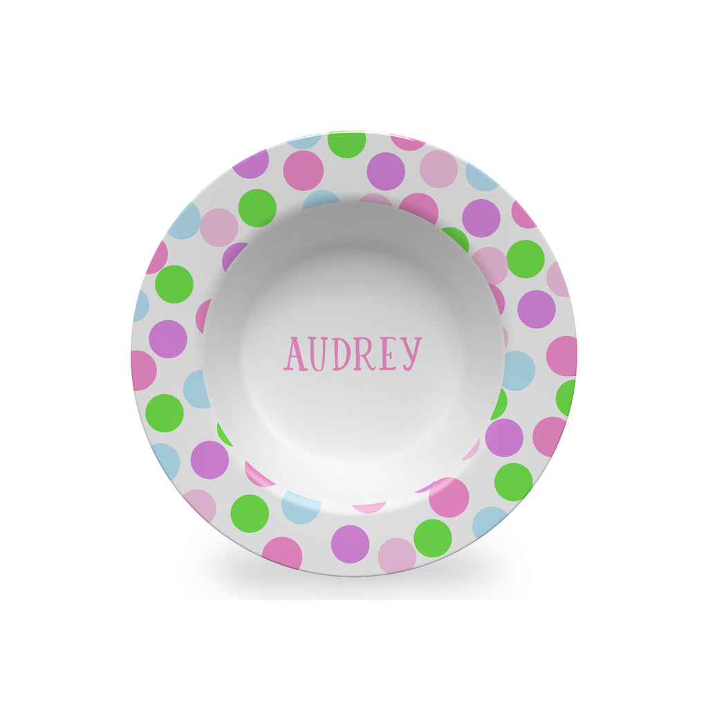 kids personalized melamine bowl with polka dots