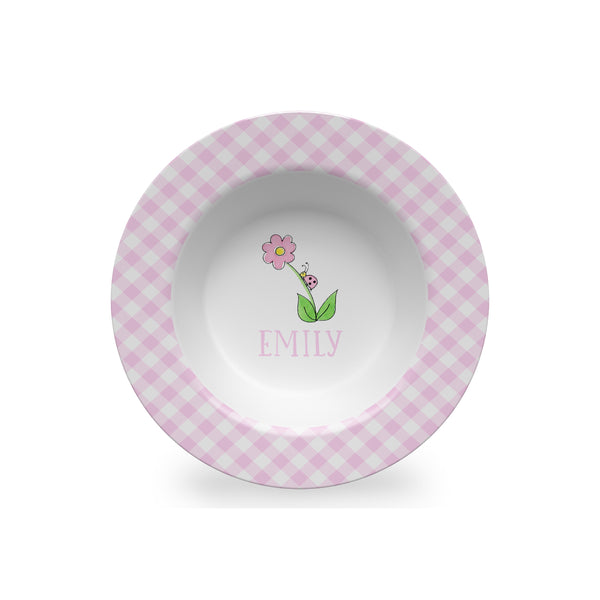 personalized melamine kids bowl with bug on a flower