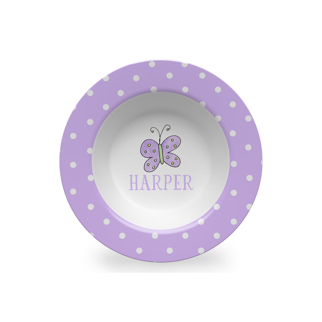 purple butterfly kids melamine bowl