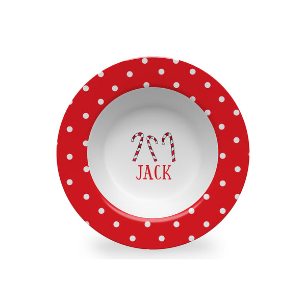 Candy Canes Personalized Kids Bowl