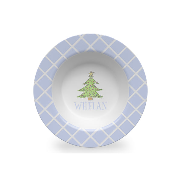 Christmas Tree Personalized Kids Bowl in Blue