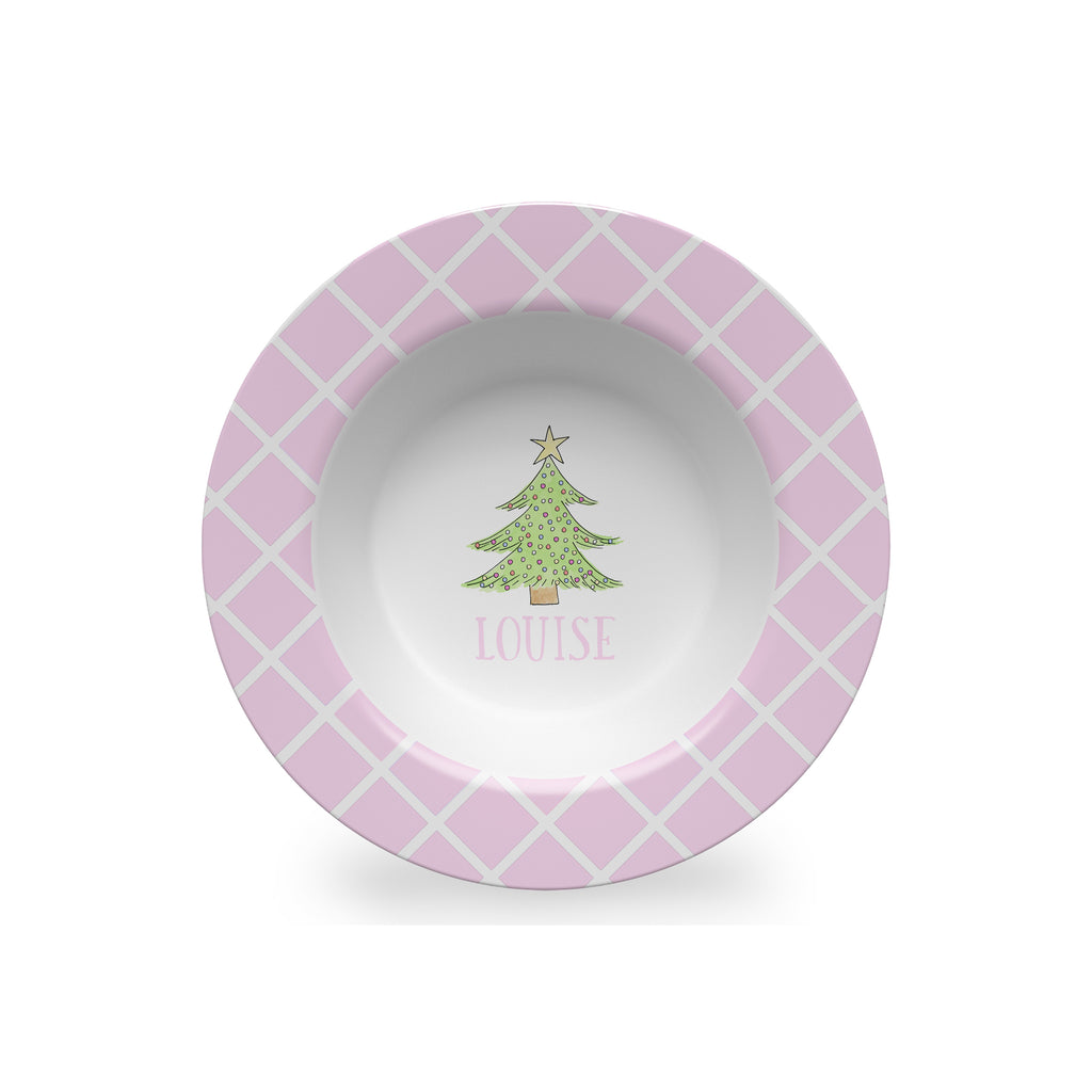Christmas Tree Personalized Kids Bowl in Pink