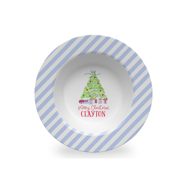 Christmas Tree Personalized Kids Plate, Bowl, and Cup Set in Blue