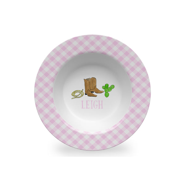 Cowboy Boots Personalized Kids Bowl in Pink