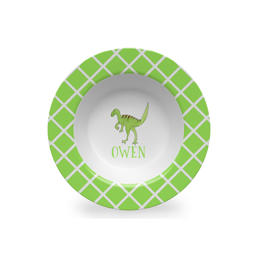 dinosaur kids bowl melamine personalized