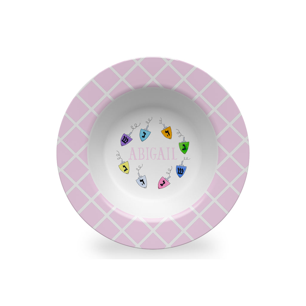 Dreidels Personalized Kids Bowl in Pink for Hanukkah