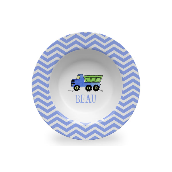 dump truck melamine kids bowl personalized
