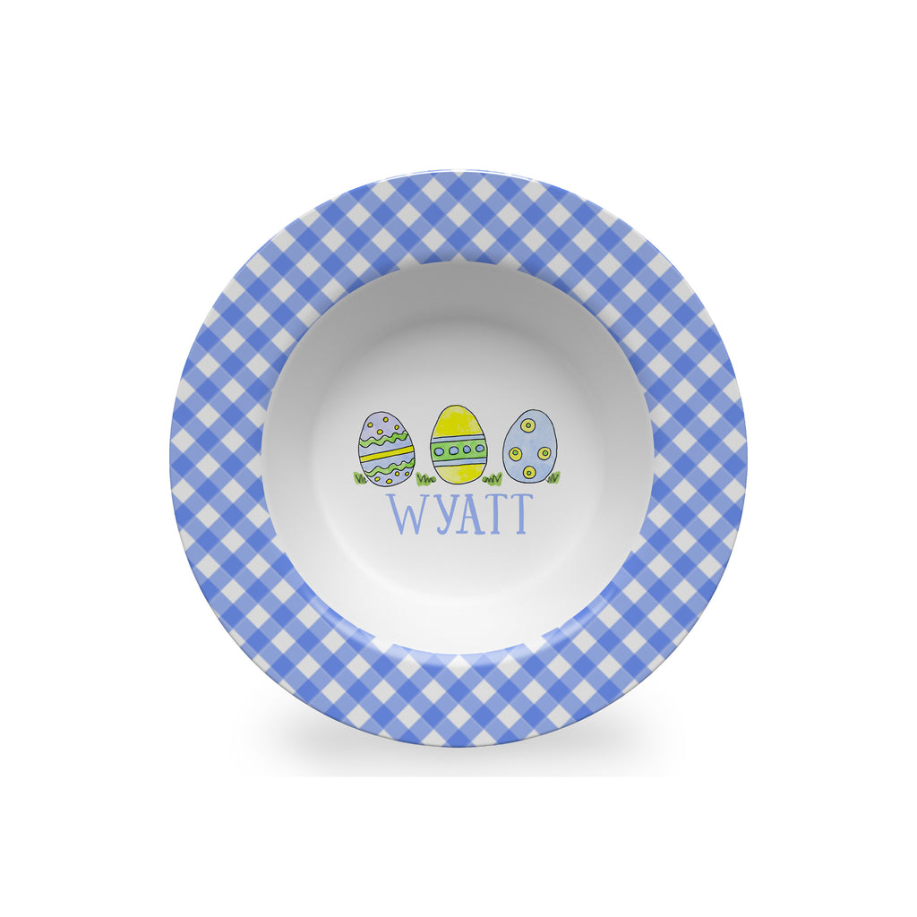 Easter Eggs Personalized Kids Bowl in Blue
