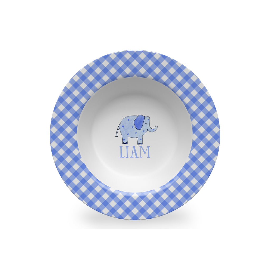 Elephant Blue Personalized Kids Bowl