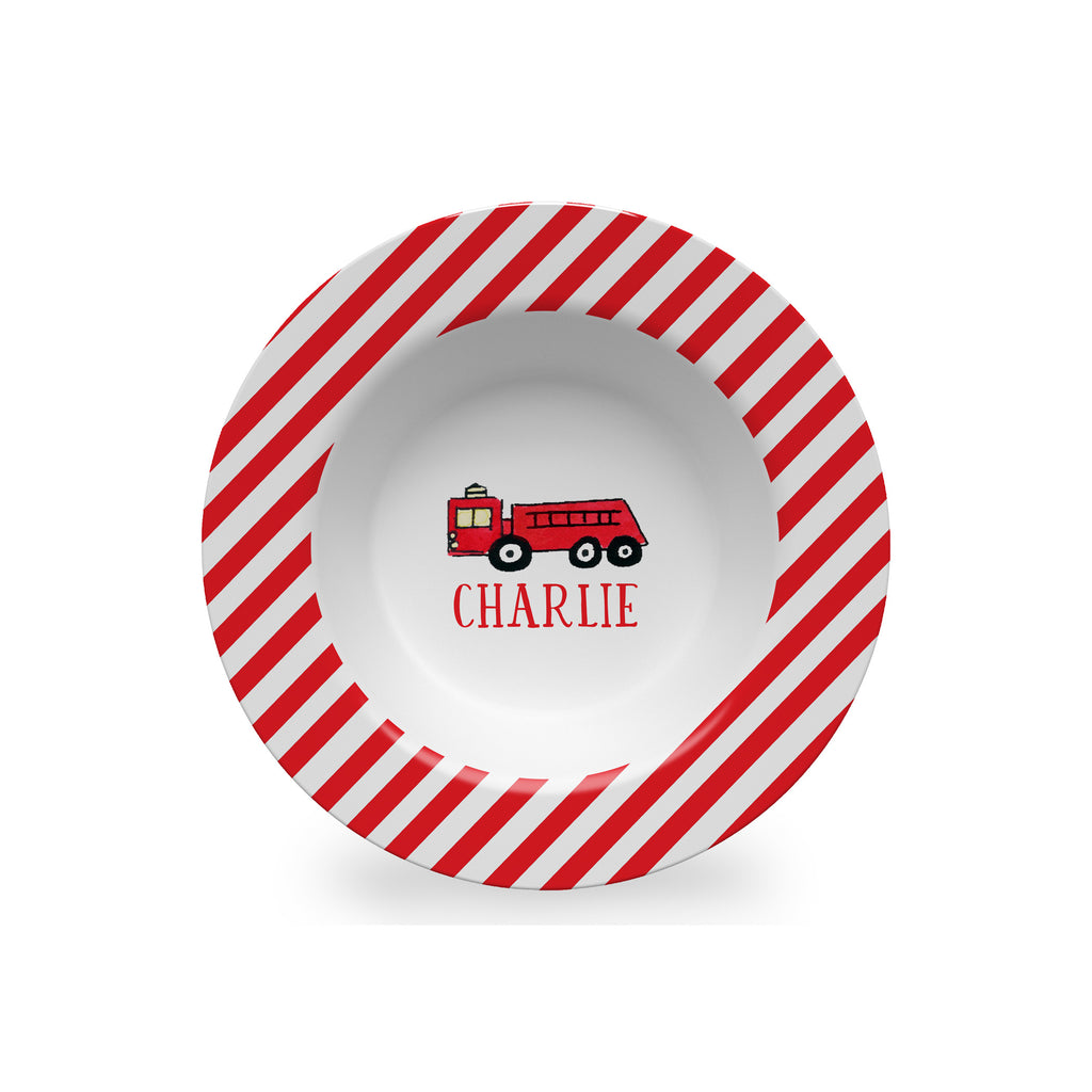firetruck kids melamine bowl personalized