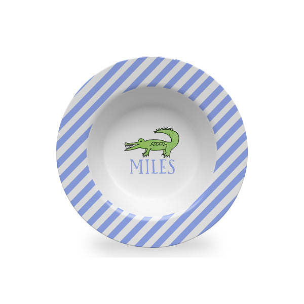 alligator melamine kids bowl personalized