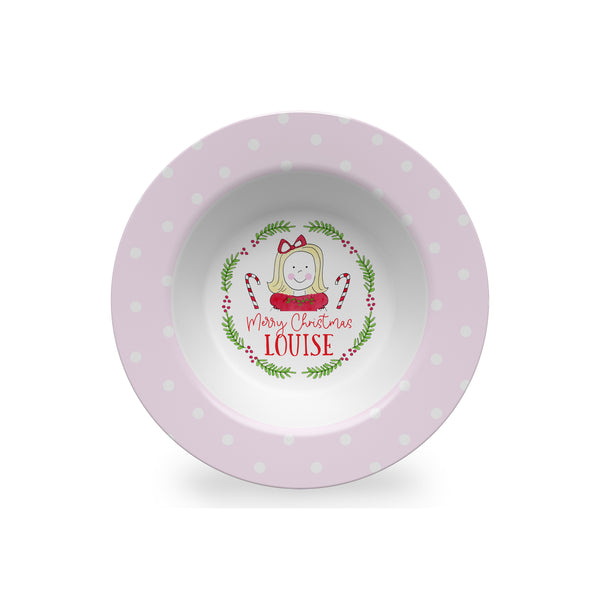 Girl Face Personalized Kids Christmas Plate, Bowl, and Cup Set