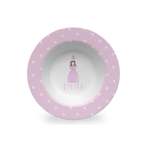 personalized kids bowl melamine princess girl