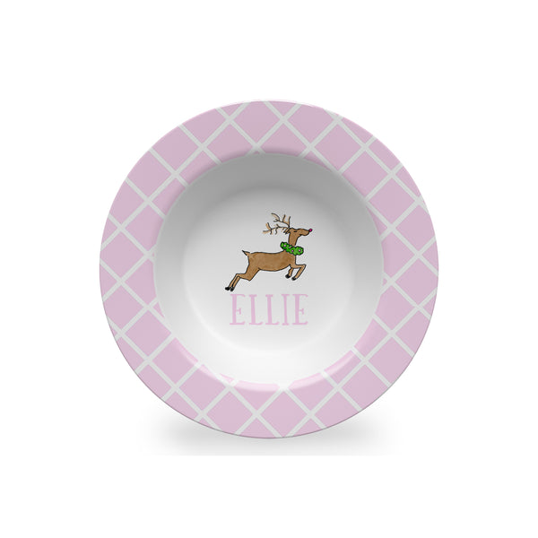 christmas kids bowl melamine personalized reindeer plate