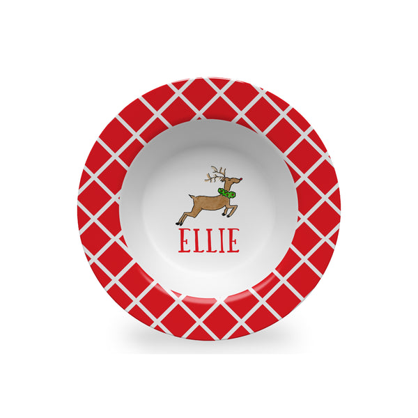 christmas kids bowl melamine personalized reindeer
