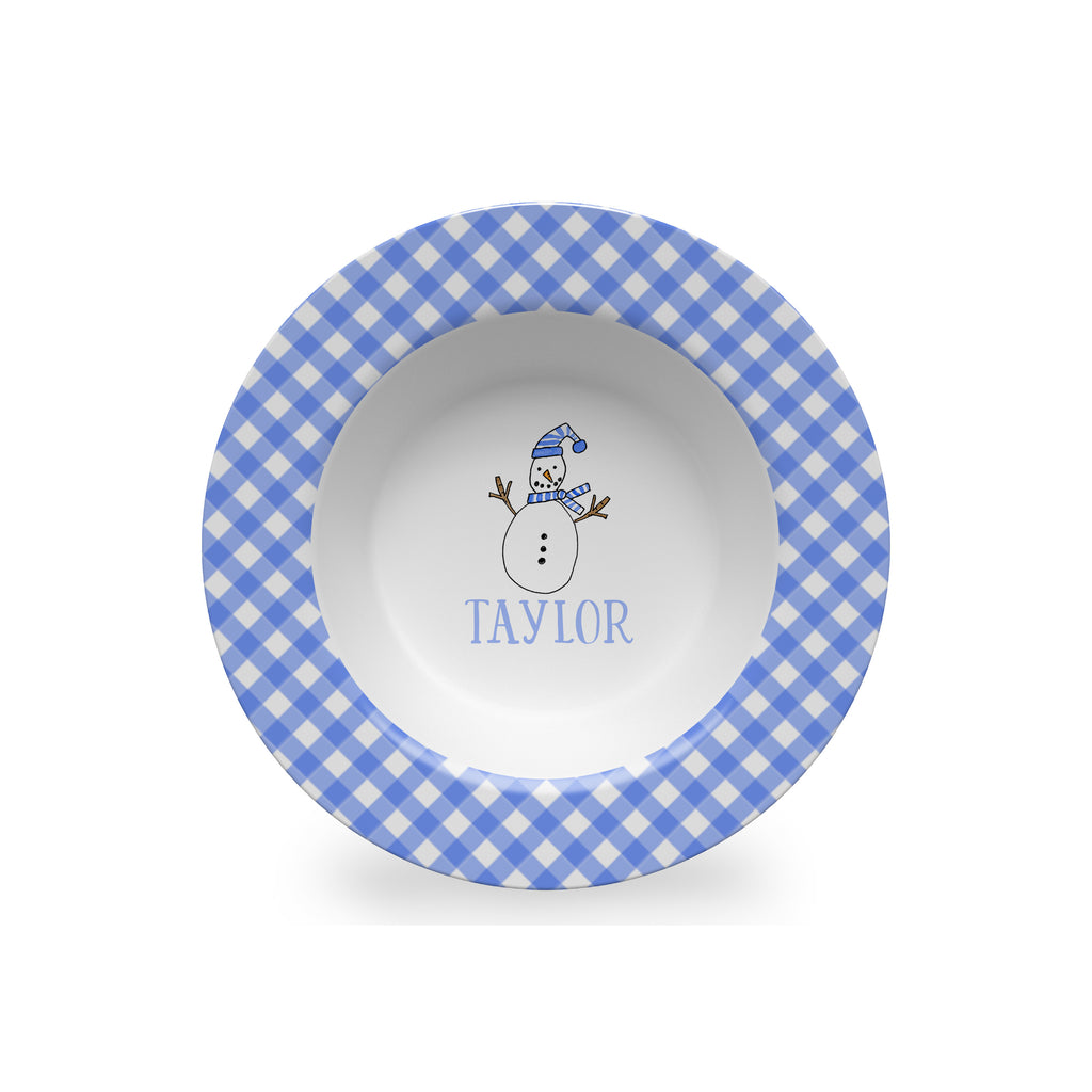 christmas plate bowl snowman personalized melamine