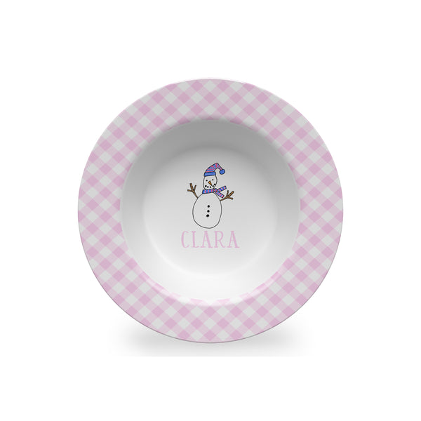Snowman in Pink Personalized Kids Bowl