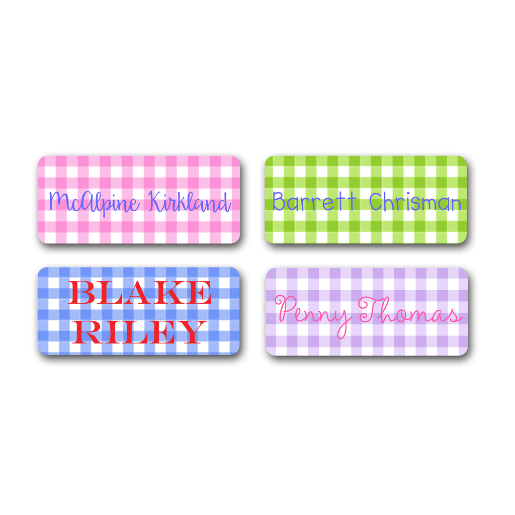 Vinyl Labels in Gingham Pattern