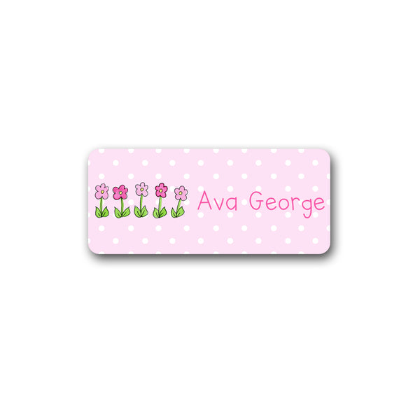 Row of Flowers Vinyl Labels for Kids girls stickers