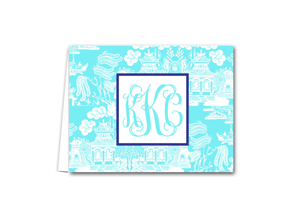 chinoiserie folded notecard note card notes preppy chic paper stationery monogram personalized