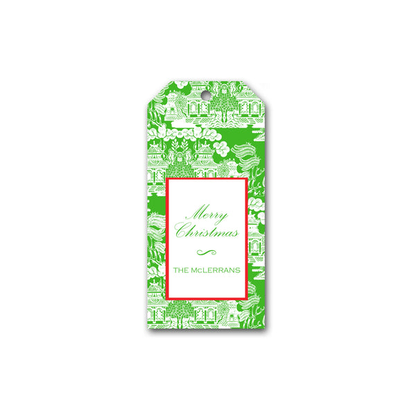 Holiday Gift Tags in Green Chinoiserie | Personalized Gift Tags | Custom Christmas Gift Tags