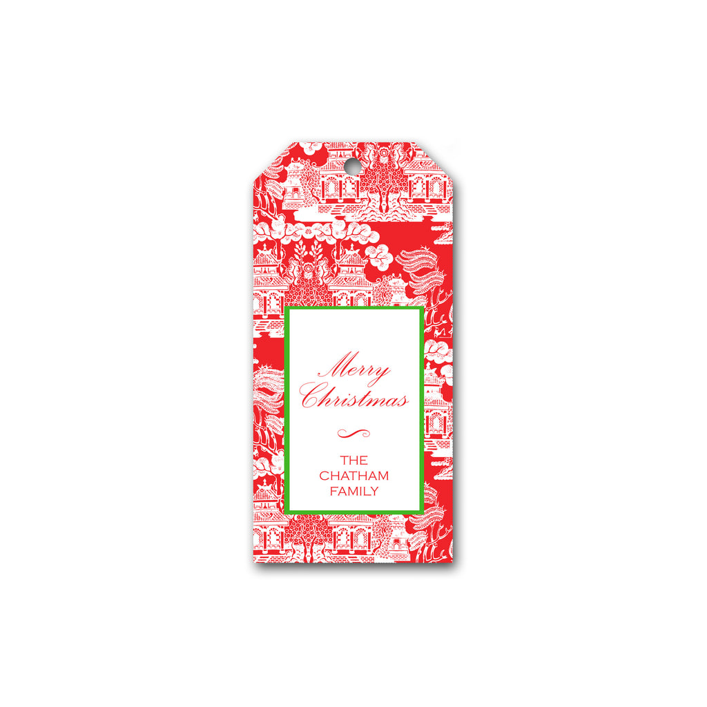 Holiday Gift Tags in Red Chinoiserie | Personalized Gift Tags | Custom Christmas Gift Tags