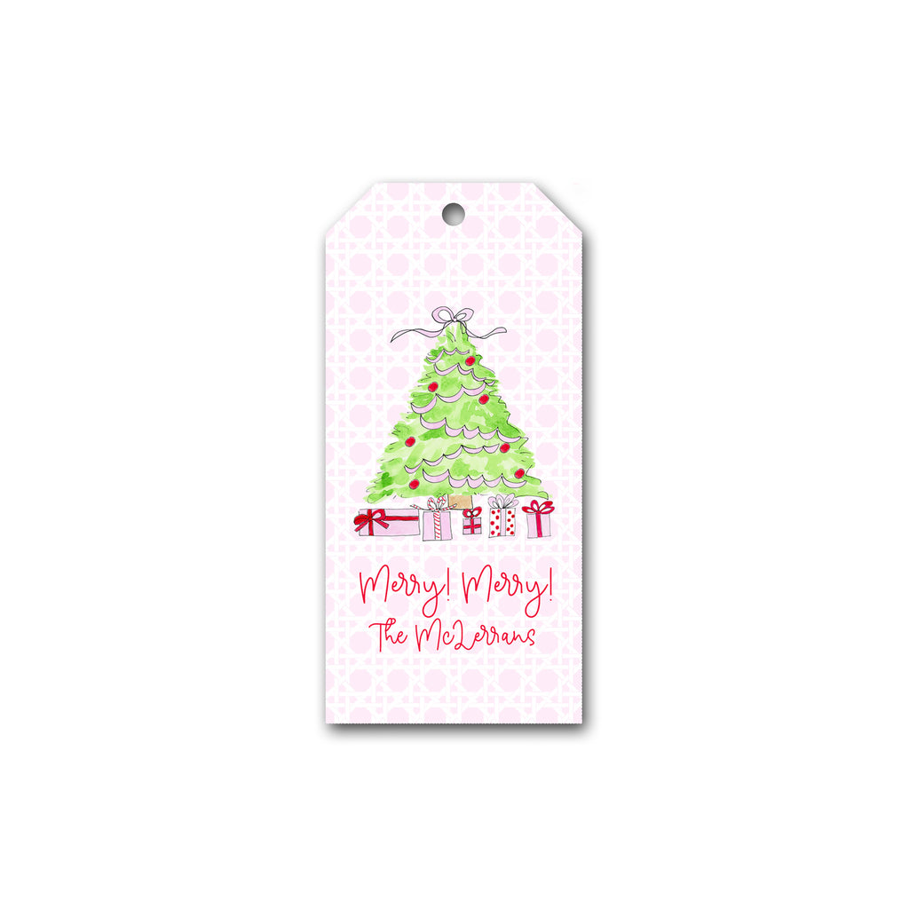 Holiday Gift Tags in Pink Christmas Tree | Personalized Gift Tags | Custom Christmas Gift Tags