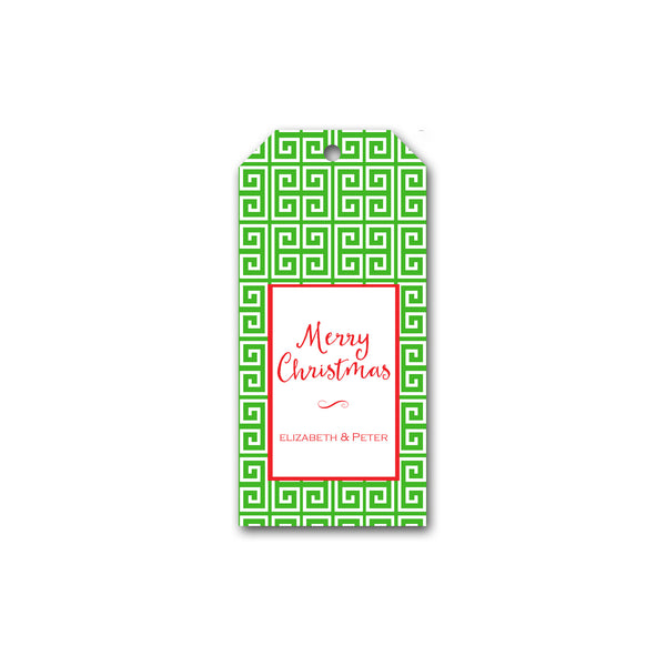 Holiday Gift Tags in Greek Key Pattern Green | Personalized Holiday Gift Tag | Custom Christmas Gift Tag